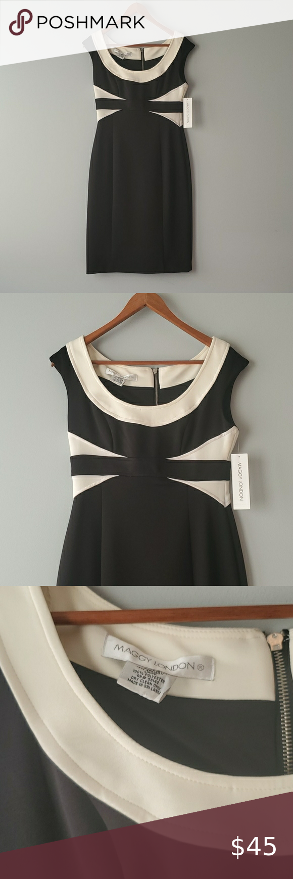 Maggy London Black Cream Sleeveless Sheath Dress Sleeveless Sheath Dress Black Sheath Dress Clothes Design [ 1740 x 580 Pixel ]