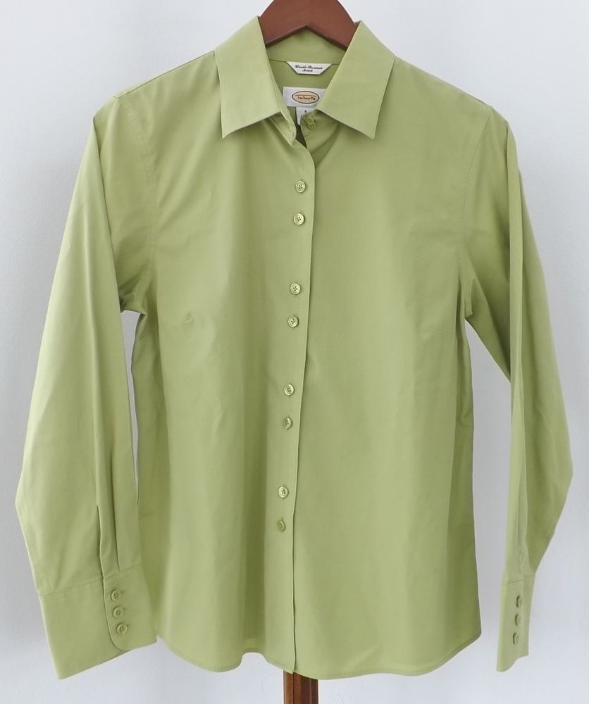 Green checkered dress shirt  Talbots Button Down Shirt Size  Green Long Sleeve Wrinkle Resistant