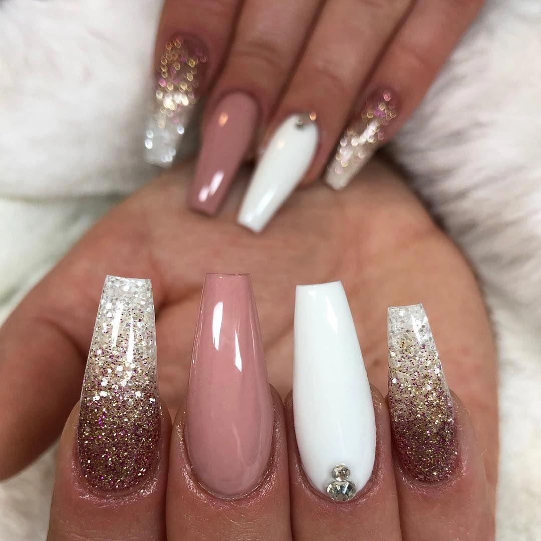65 Popular Gel Glitter Coffin Nail Designs Mauve Nails White