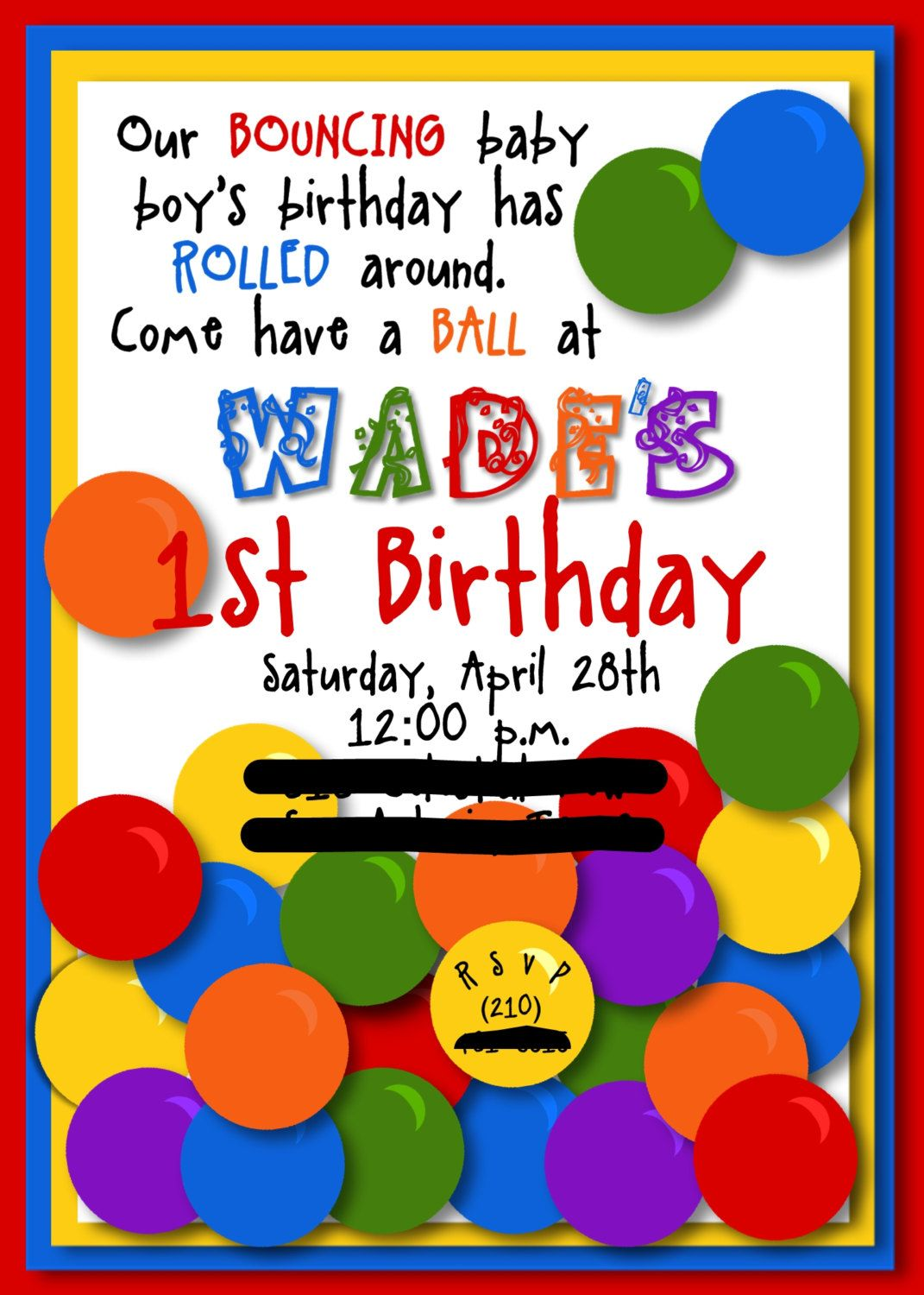 Jonas- Bouncing Ball Party - Invitation - Bright and Fun - With or ...