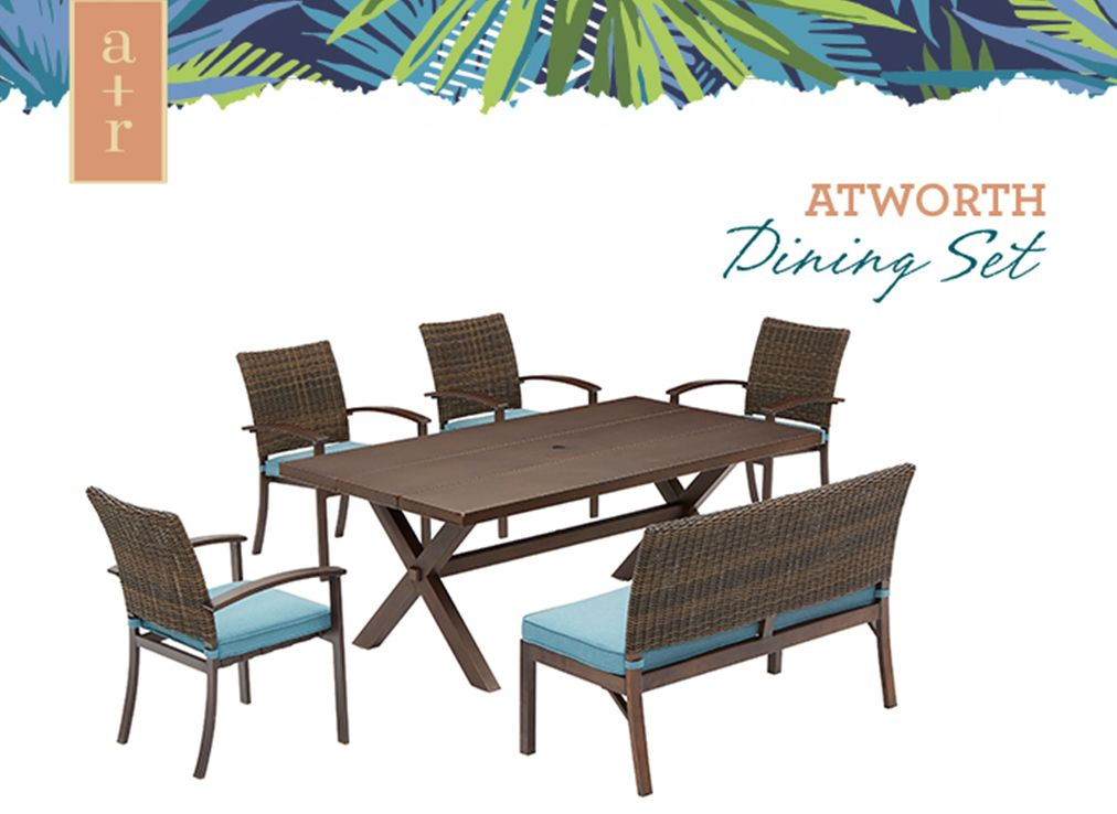 Allen Roth Atworth Rectangle Outdoor Dining Table 42 In W X 76 In L With Umbrella Hole Lowes Com Outdoor Dining Table Dining Table Patio Dining Table
