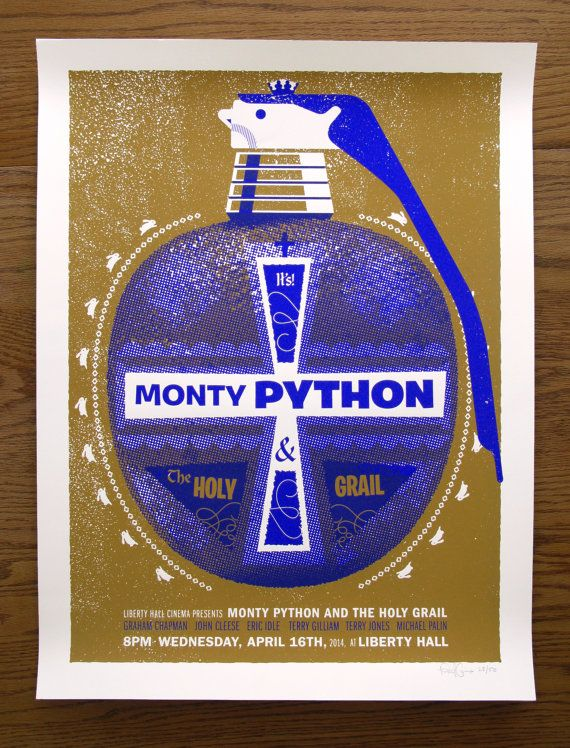 Monty Python And The Holy Grail Movie Poster Holy Hand Etsy Monty Python Python Movie Posters
