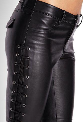 f74bd274b66 Lace-Up Faux Leather Pants