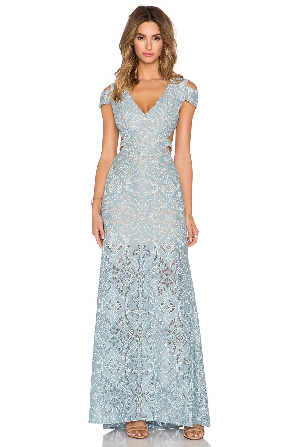 BCBGMAXAZRIA Ava Cut Out Gown in Blue Frost Combo | REVOLVE ...