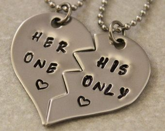 Necklace For Girlfriend And Boyfriend Half Hearts Google