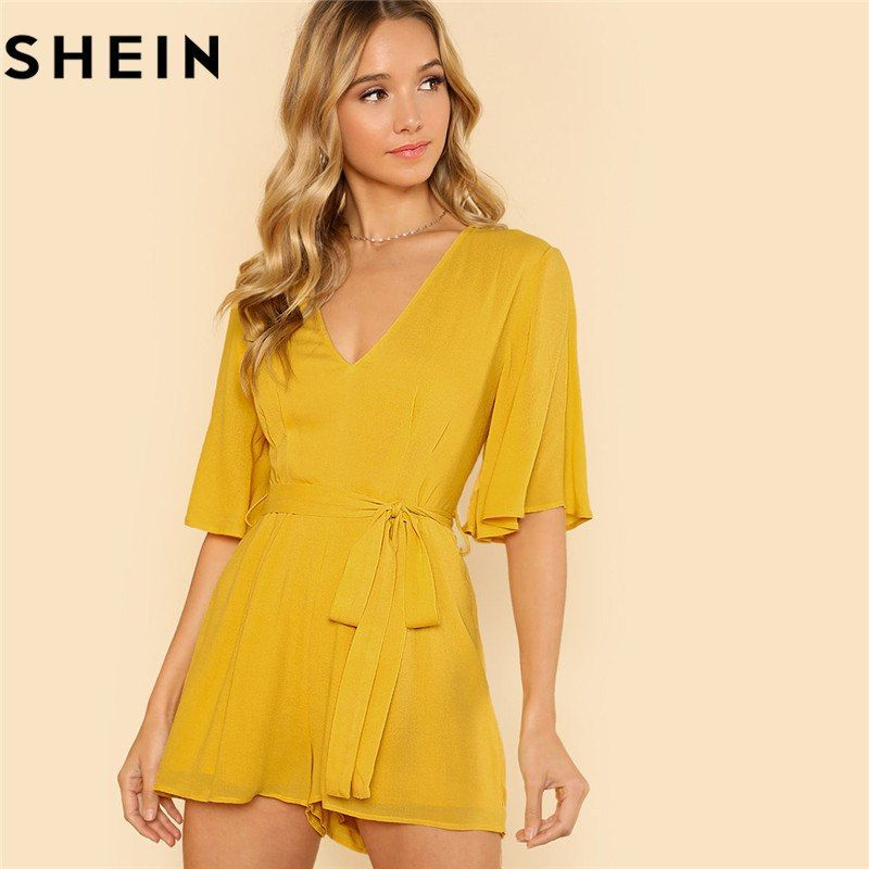 e7bca353d0 SHEIN Women Yellow V Neck Casual Half Flounce Sleeve Romper  #beautifulclothes #shopforless #discounts #trendyfashion  #sensualshoesandclothingboutique