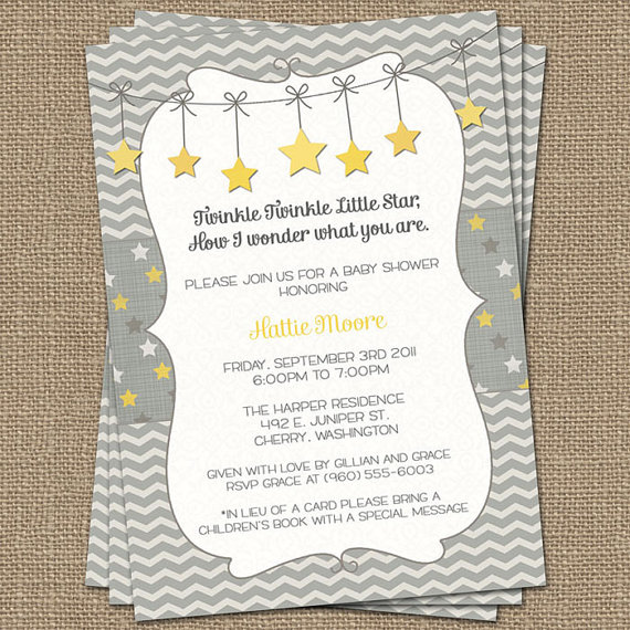 twinkle, twinkle little star baby shower invite, yellow and gray, Baby shower invitation