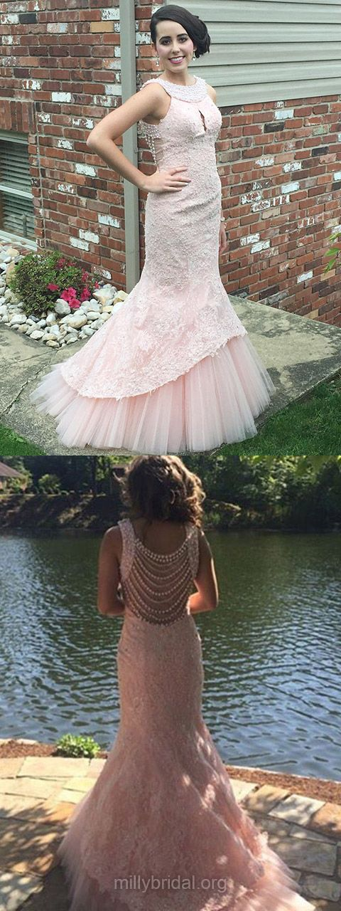 Mermaid Prom Dresses Long, Pink Party Dresses 2018, Scoop Neck Formal Dresses Lace Popular