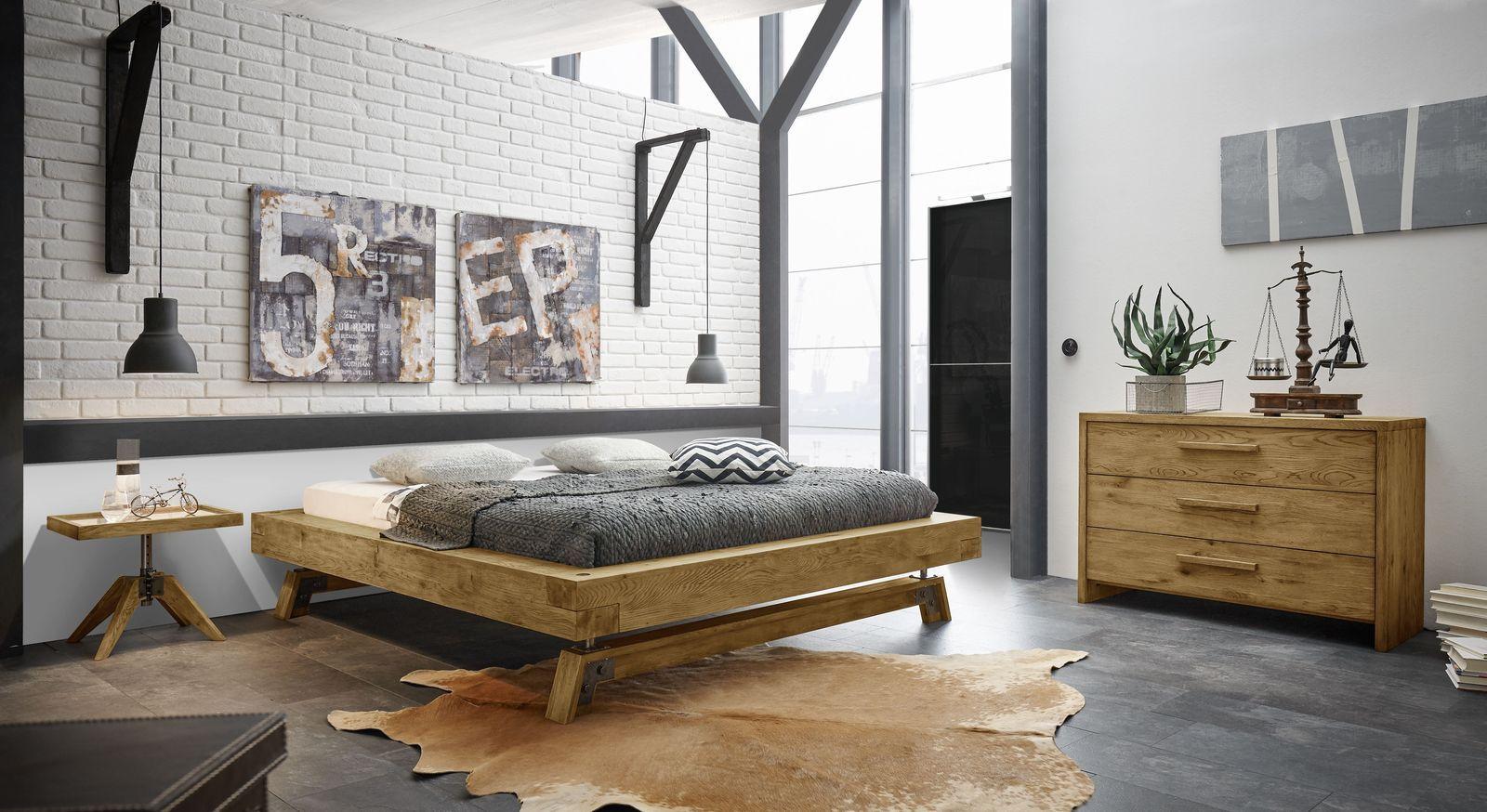 Echtholz Liege Wildeiche Im Industrial Style Used Look Valdivia In 2020 Vintage Bett Zimmer Bett Modern