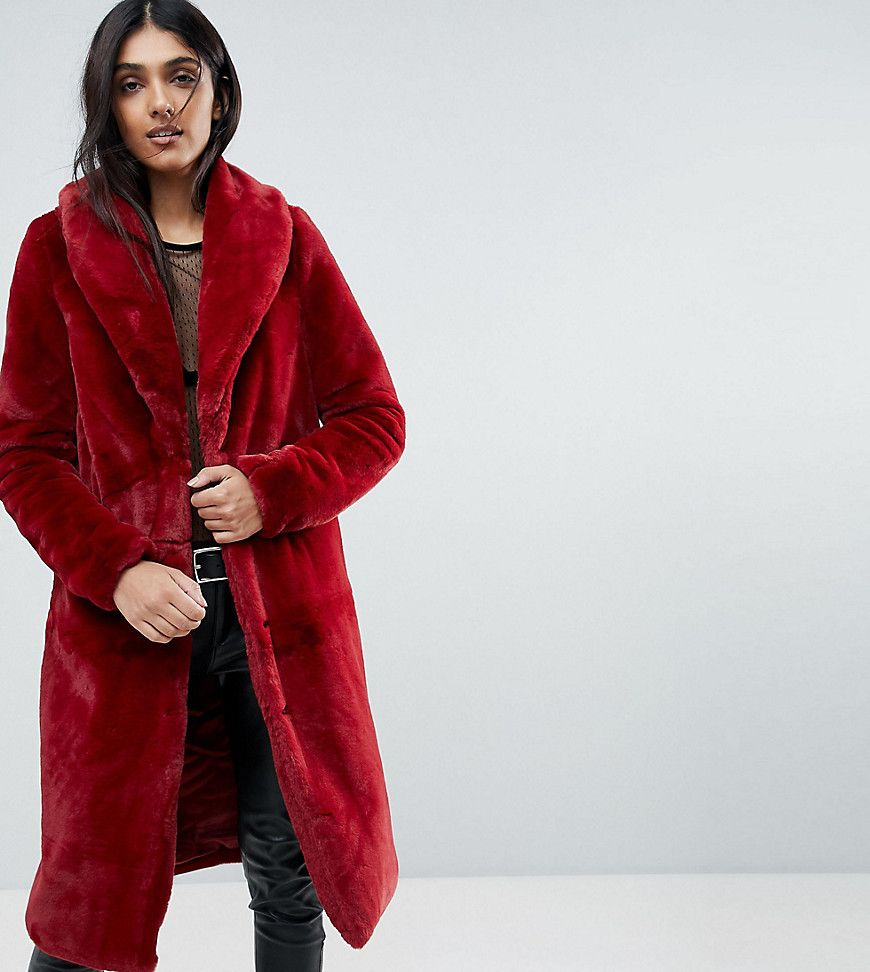 b83682f1c971 Vero Moda Tall Long Faux Fur Jacket - Red | Shop the look products ...