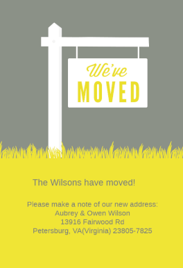 We Ve Moved Sign Moving Announcement Template Free Greetings Island Moving Announcements Postcard Template Address Label Template