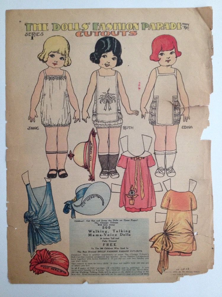 The Angel Family Penny Ross Fashion Parade 1920s Newspaper Paper