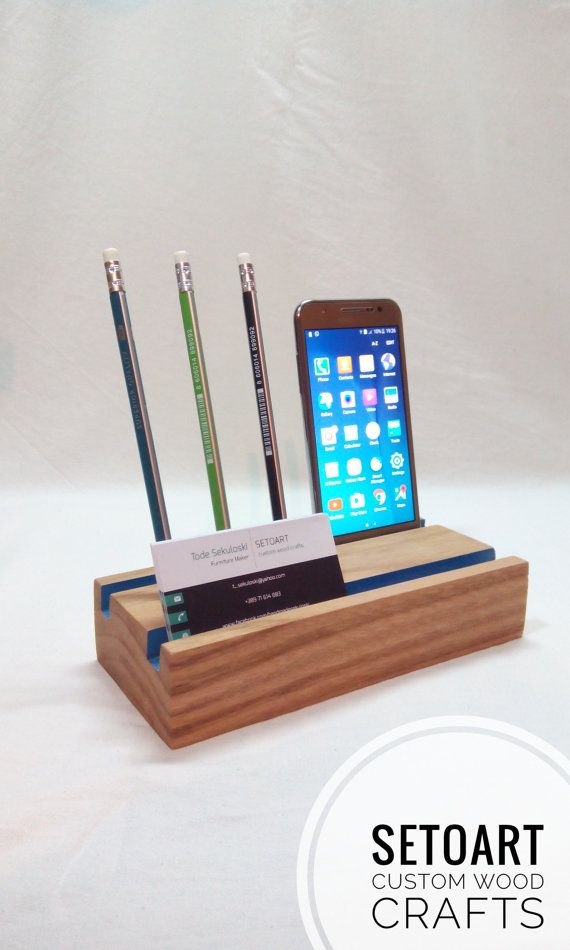 Desk Organizer Wood Business Card Holder Pencil Holder Cell Phone ...