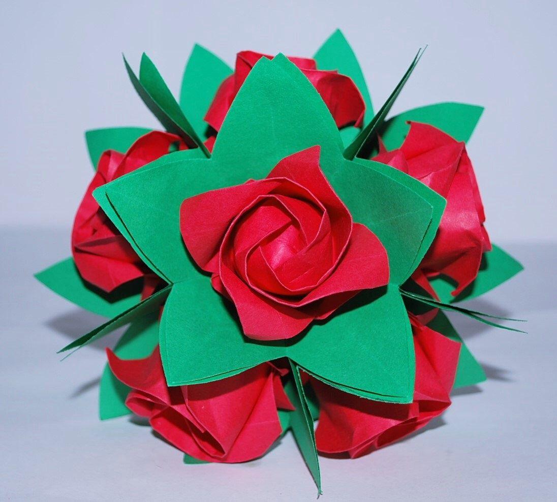 Origami Roses Wedding Flower Bouquet Paper Flower Bouquet