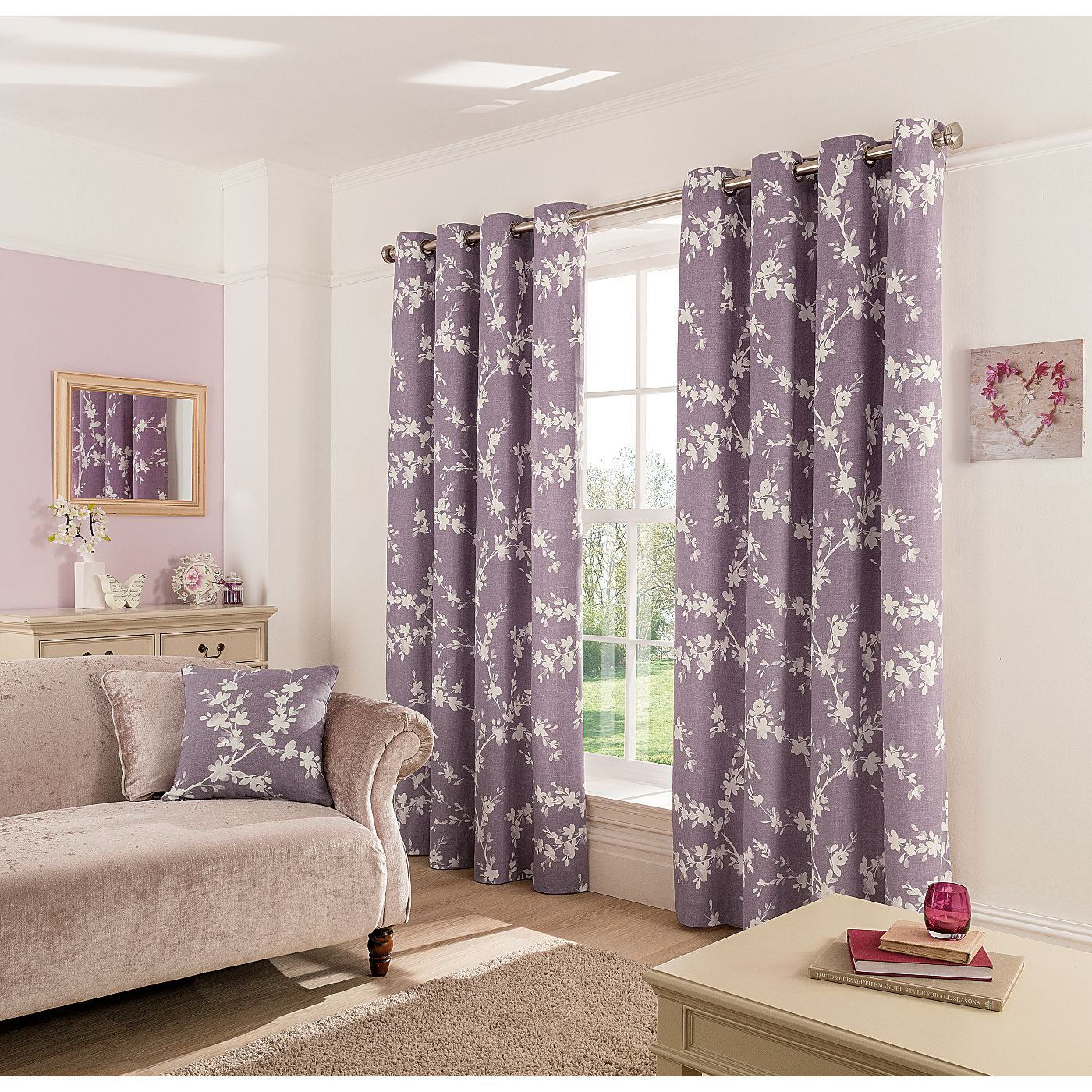 George Home Thistle Eden Floral Eyelet Curtains | Curtains | ASDA ...