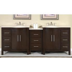Silkroad Exclusive 89 In Dark Walnut Double Sink Bathroom Vanity