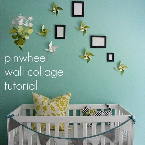 pinwheel collage wall Chambre Bébé décoration Nursery garçon fille