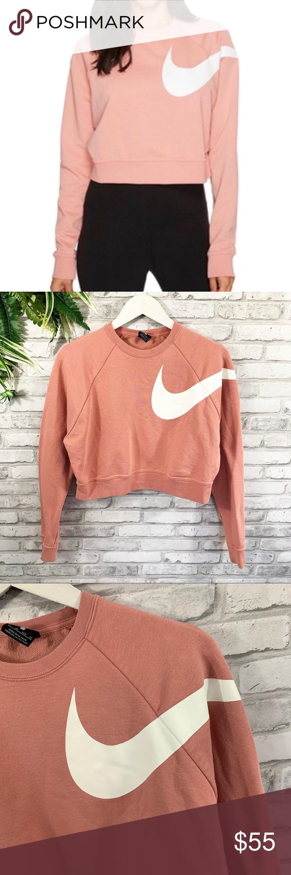 Nike Versa Pink Cropped Big Swoosh Sweatshirt Sweaters For Women Sweatshirts Crew Neck Sweater [ 1740 x 580 Pixel ]