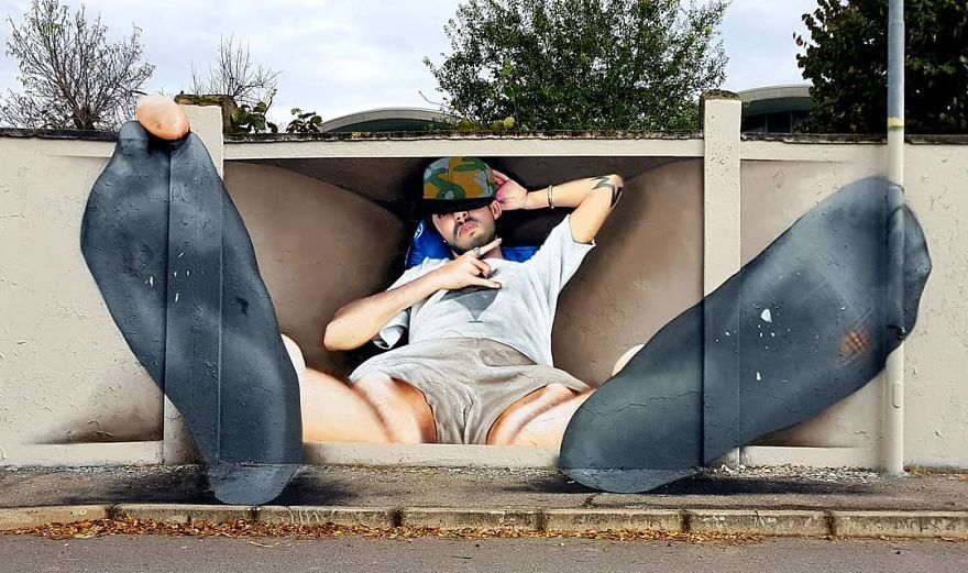 30 Pics Of 3D Street Art That Interacts With Its Surroundings, Created By Caiffa Cosimo