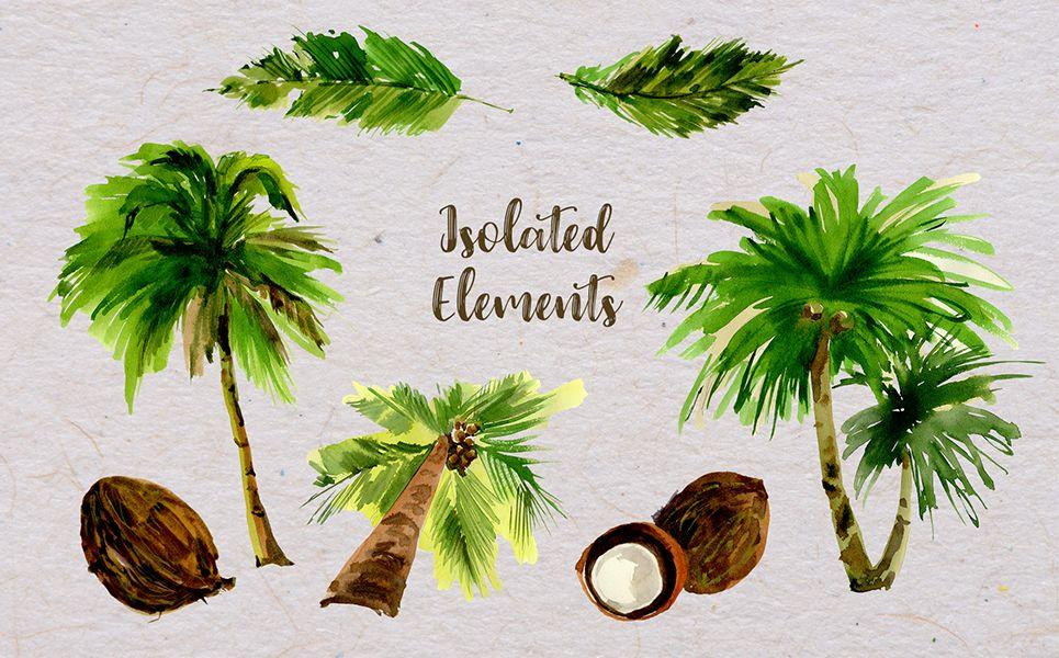 Palm Tree Png Watercolor Set Illustration 71848 Palm Tree Png Palm Trees Watercolor Trees