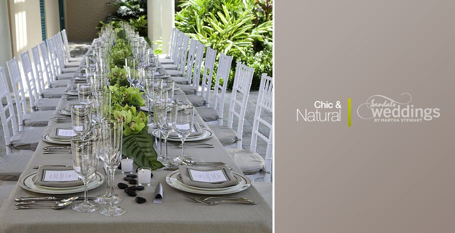 Elegant dinner table arrangements for the Chic and Natural package
