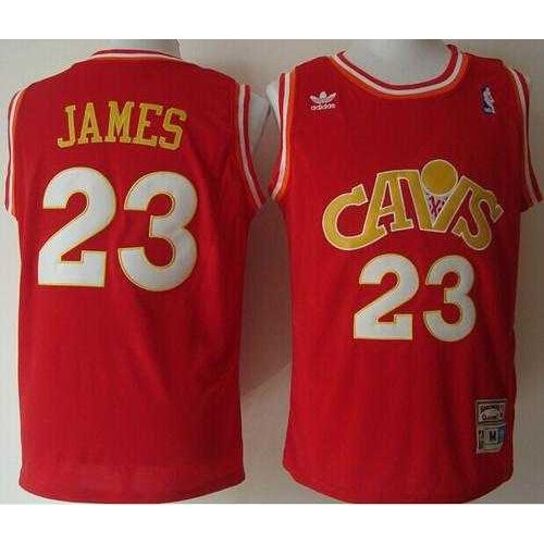 cleveland cavaliers mitchell and ness 23 lebron james stitched red cavs nba jersey
