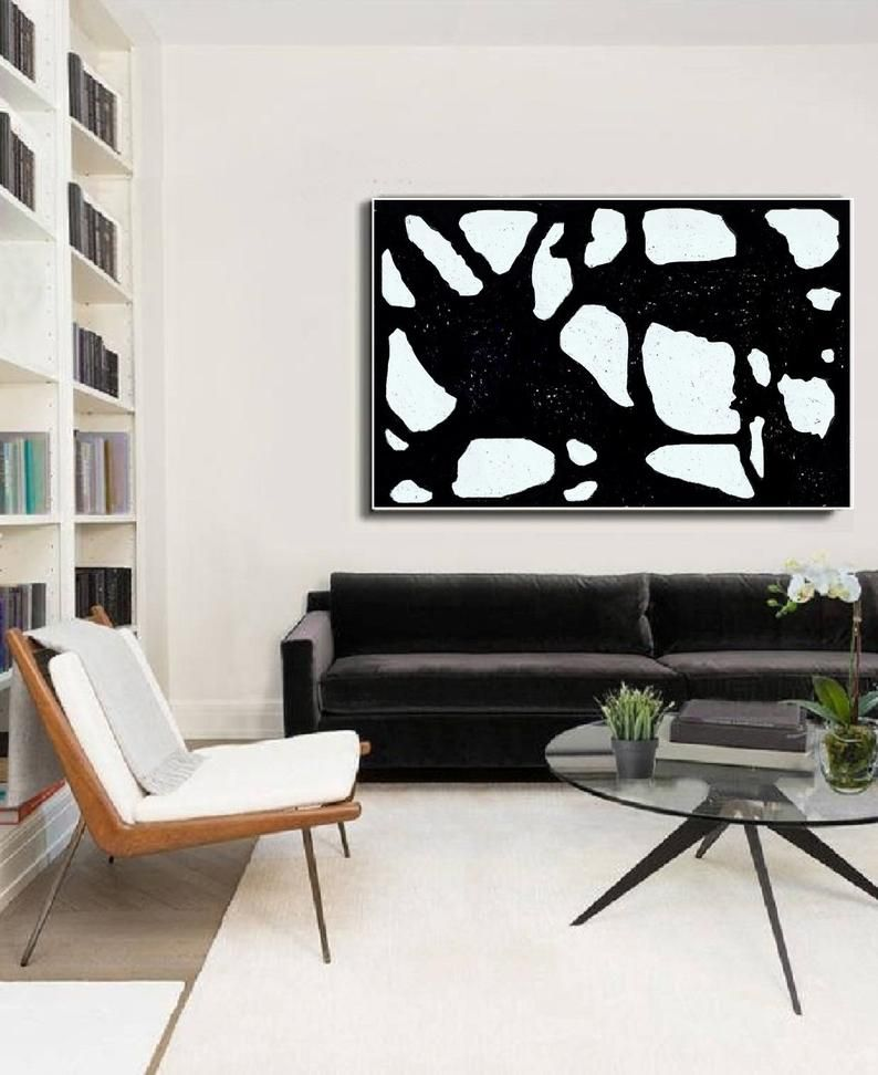 Minimalist Painting Abstract Black And White Original Art On Etsy Wall Art Living Room Minimalist Painting Living Room Decor Modern