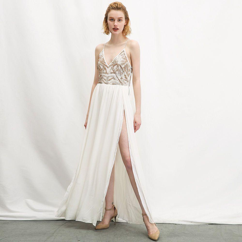 Hot elegant womens champagne sequins strappy white deep v collar