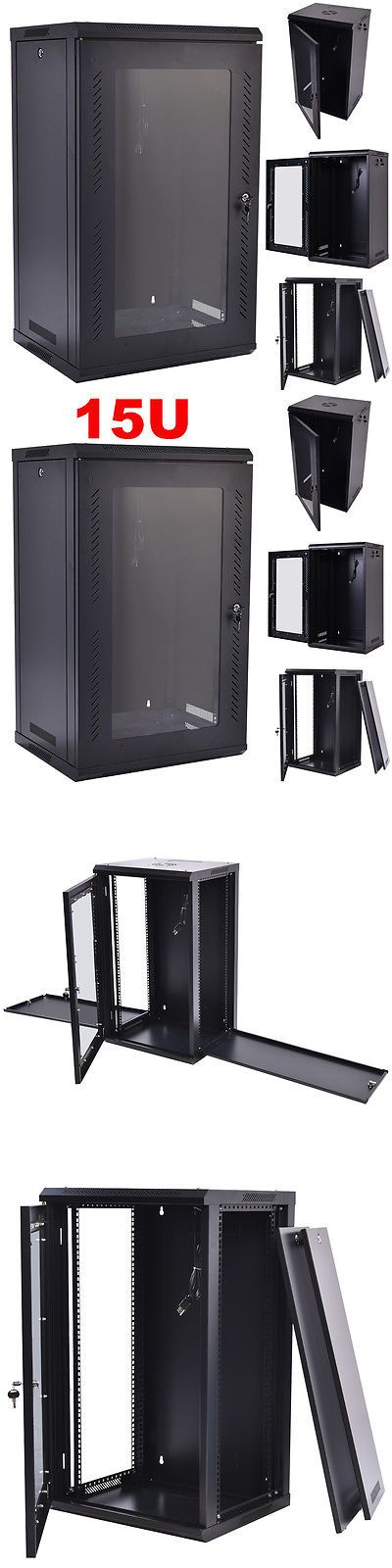 15u Wall Mount Network Server Data Cabinet Enclosure Rack Glass Door Lock W Fan Glass Door Lock Wall Mount Rack Server Rack