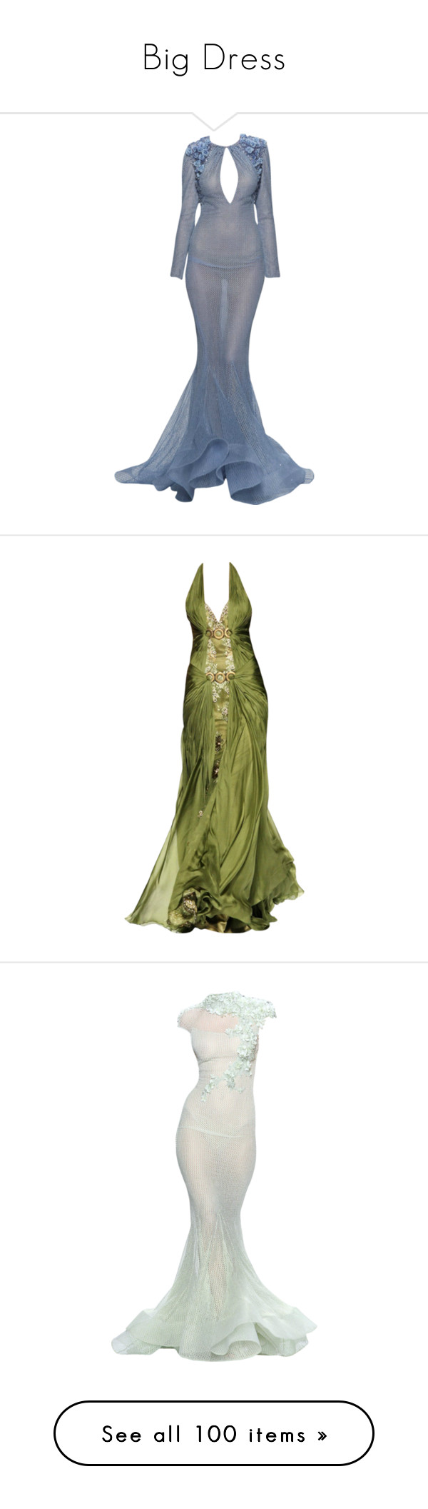 """""""Big Dress"""" by saltless ❤ liked on Polyvore featuring dresses, gowns, long dresses, edits, blue ball gown, blue evening dresses, long blue dress, blue gown, blue dress and green"""
