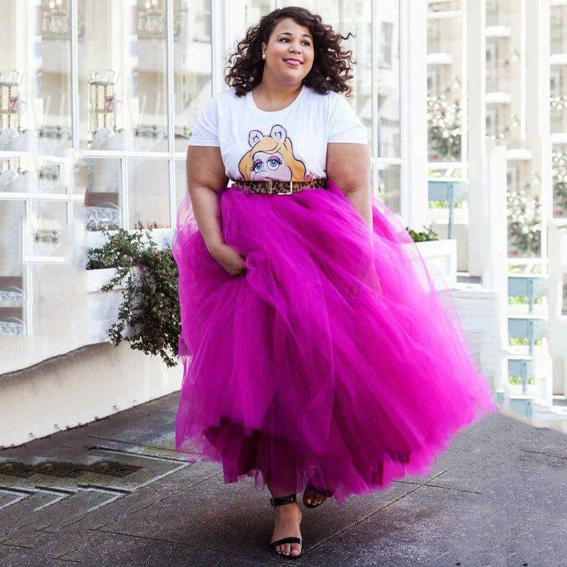 Plus Size 7 Layers Tulle Skirt Summer Women Long Skirts Tutu Maxi ...
