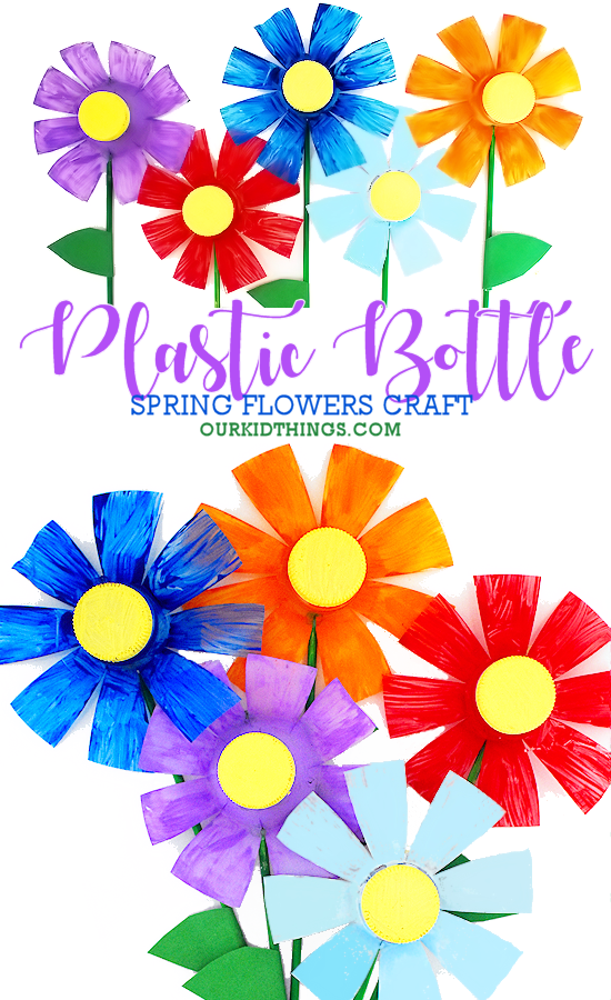 Plastic Bottle Flower Craft #spring #flowercraft #kidscraft #kidcrafts