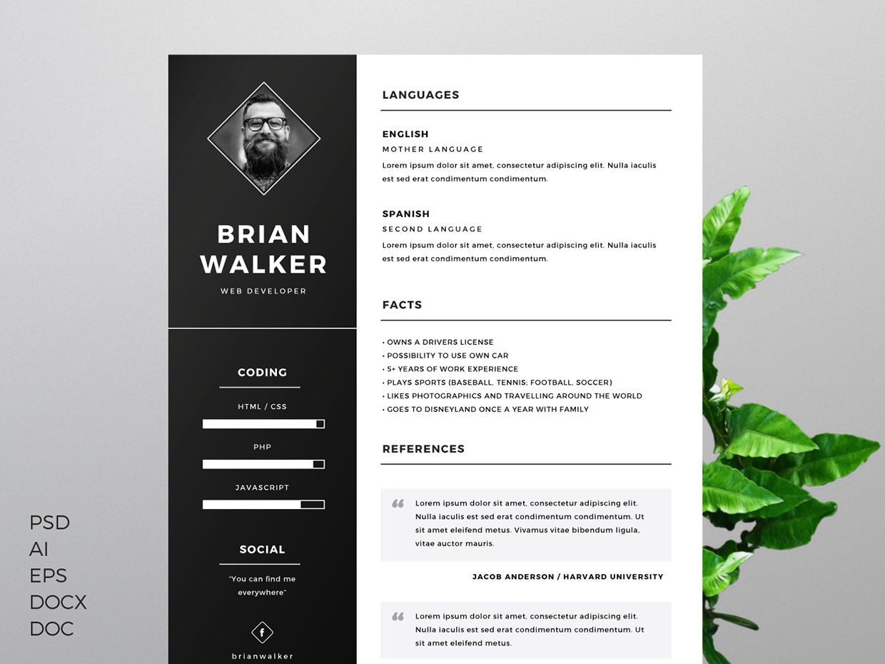 Free Resume Template For Word Photoshop Illustrator Pinterest