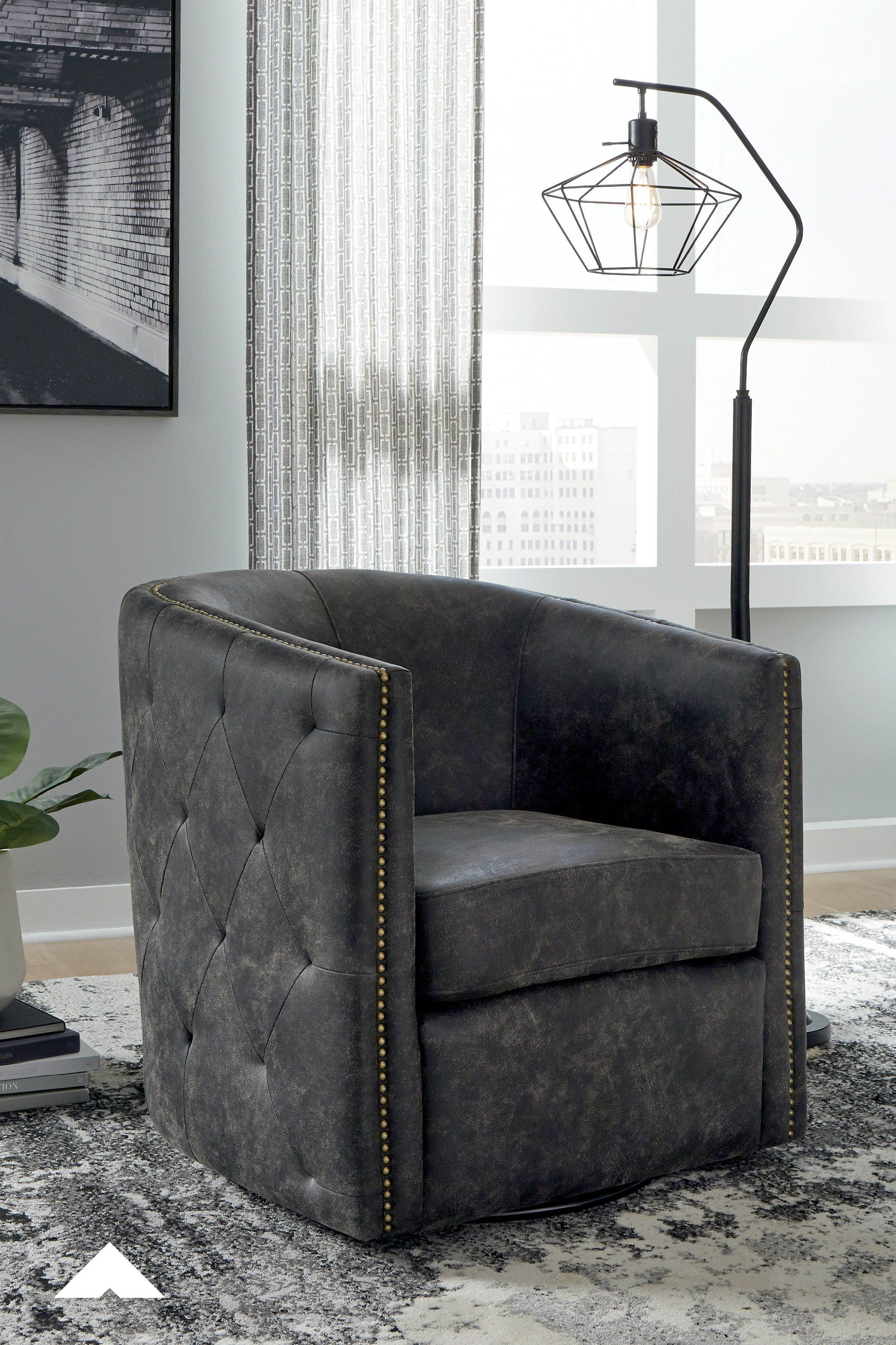 Brentlow Distressed Black Swivel Chair By Ashley Furniture