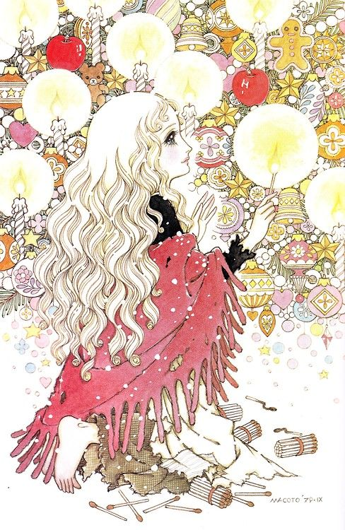 fairy tale mood retro illustration the little match girl anime drawings