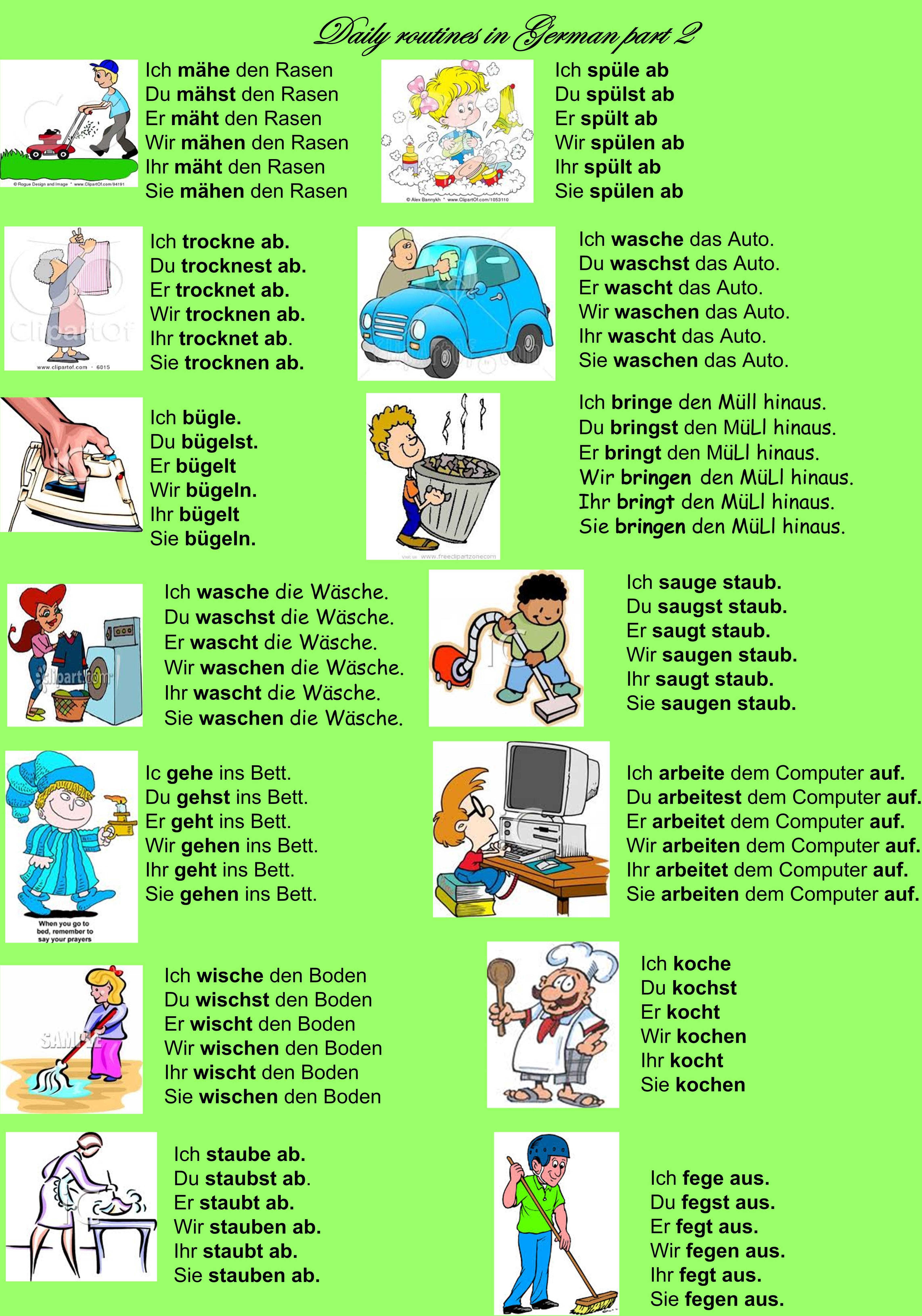 Daily routines in German part 2 | Deutsch | German grammar ...