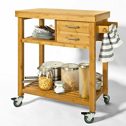 Sobuy fkw26 n meuble rangement cuisine roulant en bambou for Desserte rangement cuisine