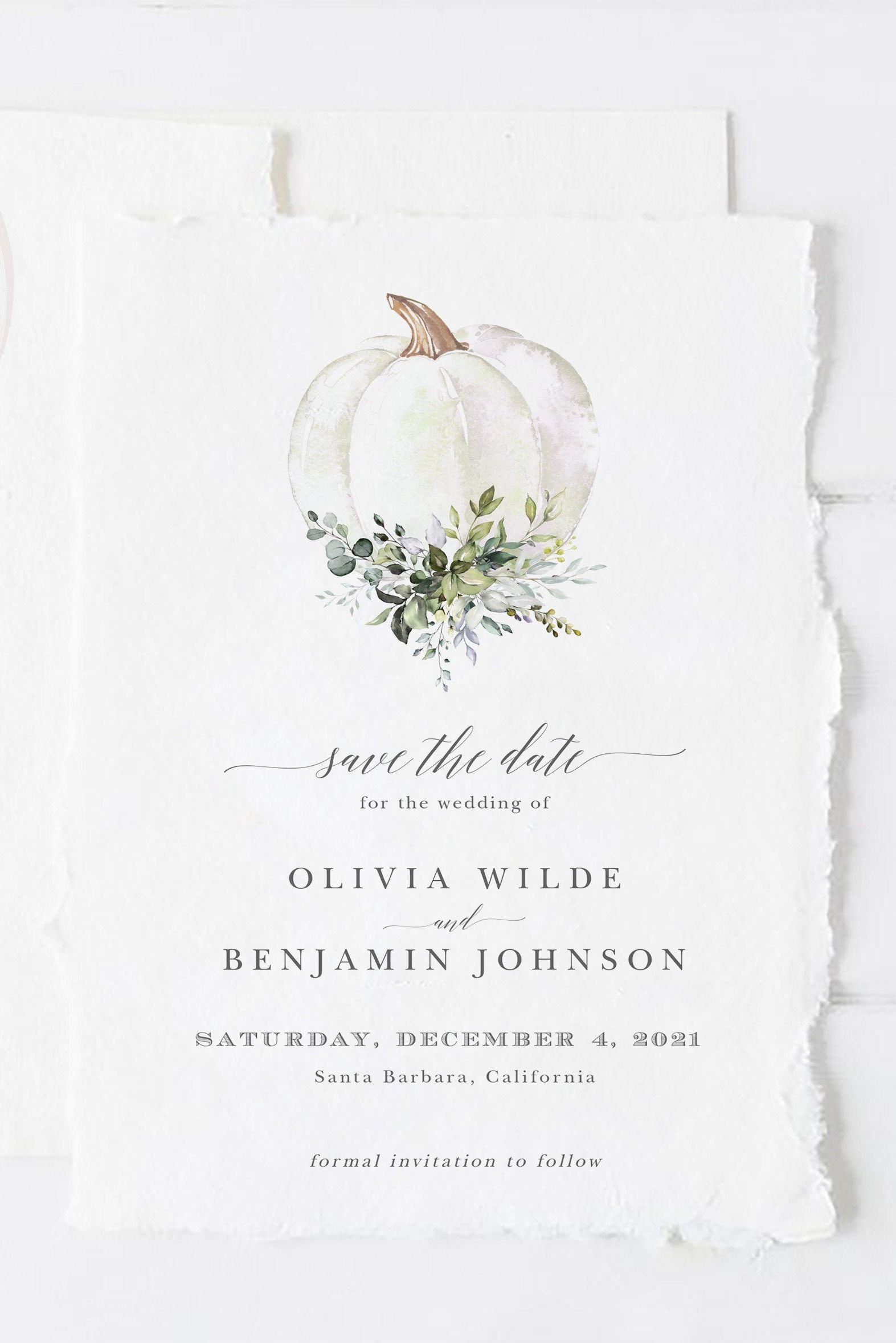 Fall Wedding Save the Date Invitation Template Autumn