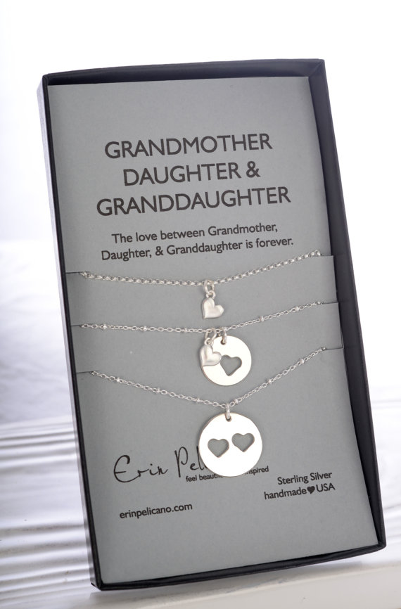 Mother Daughter And Grandma Necklace Set Grandmother Jewelry Bridal Party Gift Of The Bride Inspirational Sterling Silver