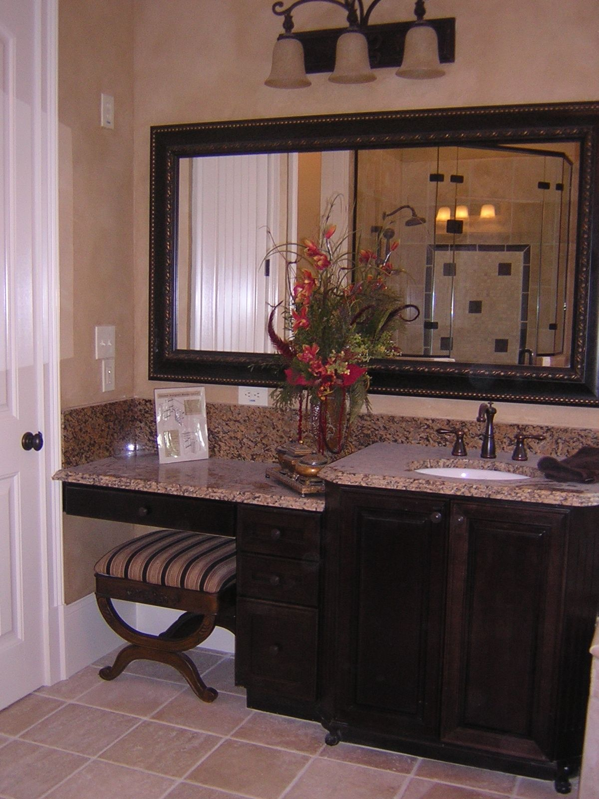 Dark cherry cabinets with vanity sitting space our - How to put down tile in bathroom ...