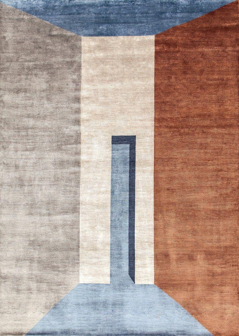 Copper Bamboo Fibre Rug By Sirecom Teti Handmade Square Rectangular Design Reverso Prospettive Collection