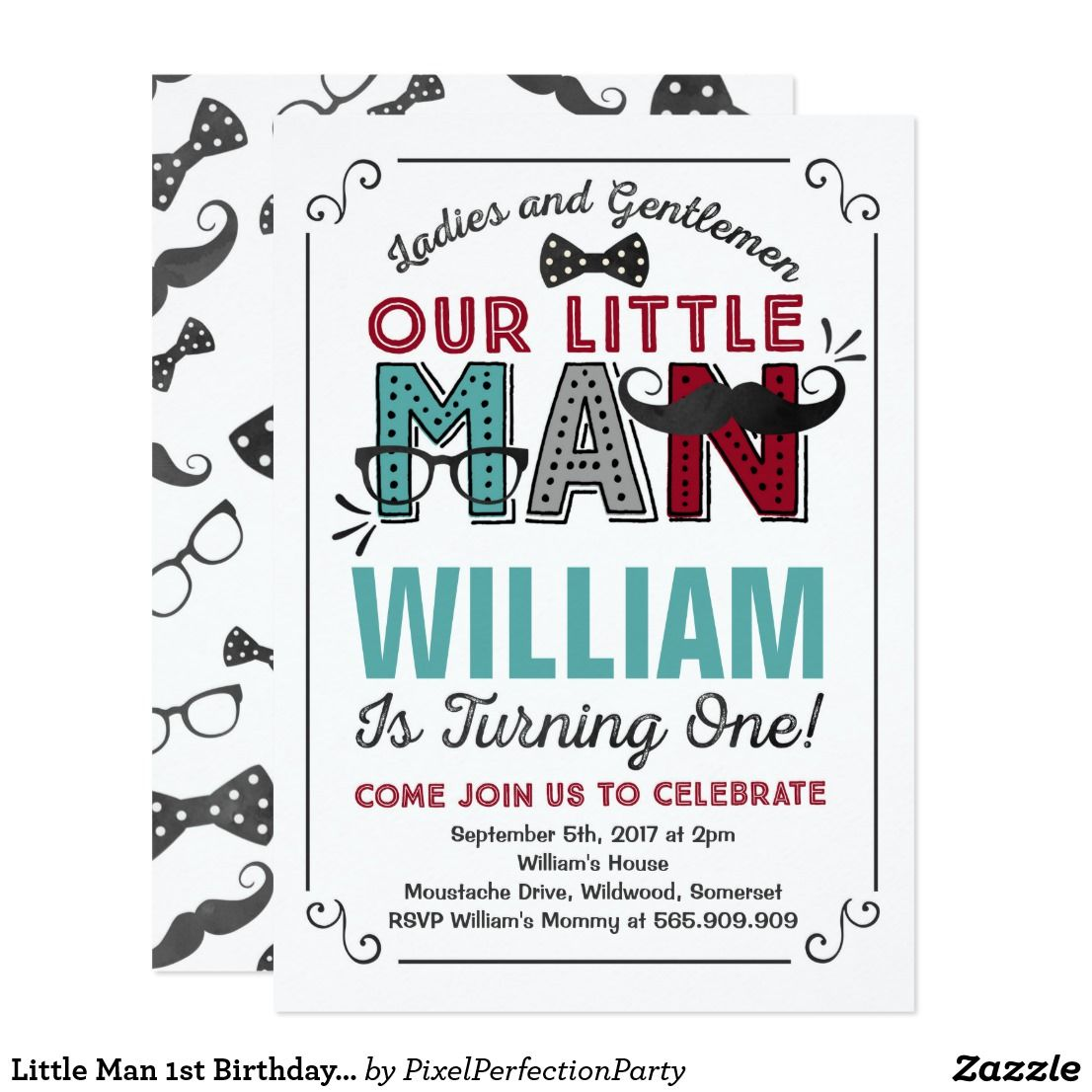 Little Man 1st Birthday Invitation Mustache Party | Mustache party ...