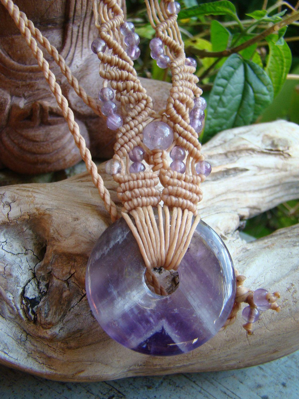 Natural Amethyst Quartz Purple Donut Gemstone Macrame