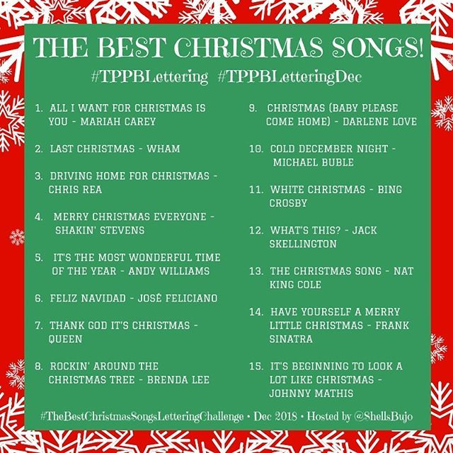 The Best Christmas Songs Lettering Challenge! 🎄🎶🎅 I LOVE Christmas songs, and I've listed 31 of ...