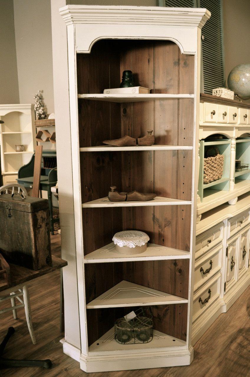 Distressed Off White Corner Bookcase White Corner Bookcase Bookcase Corner Bookshelves