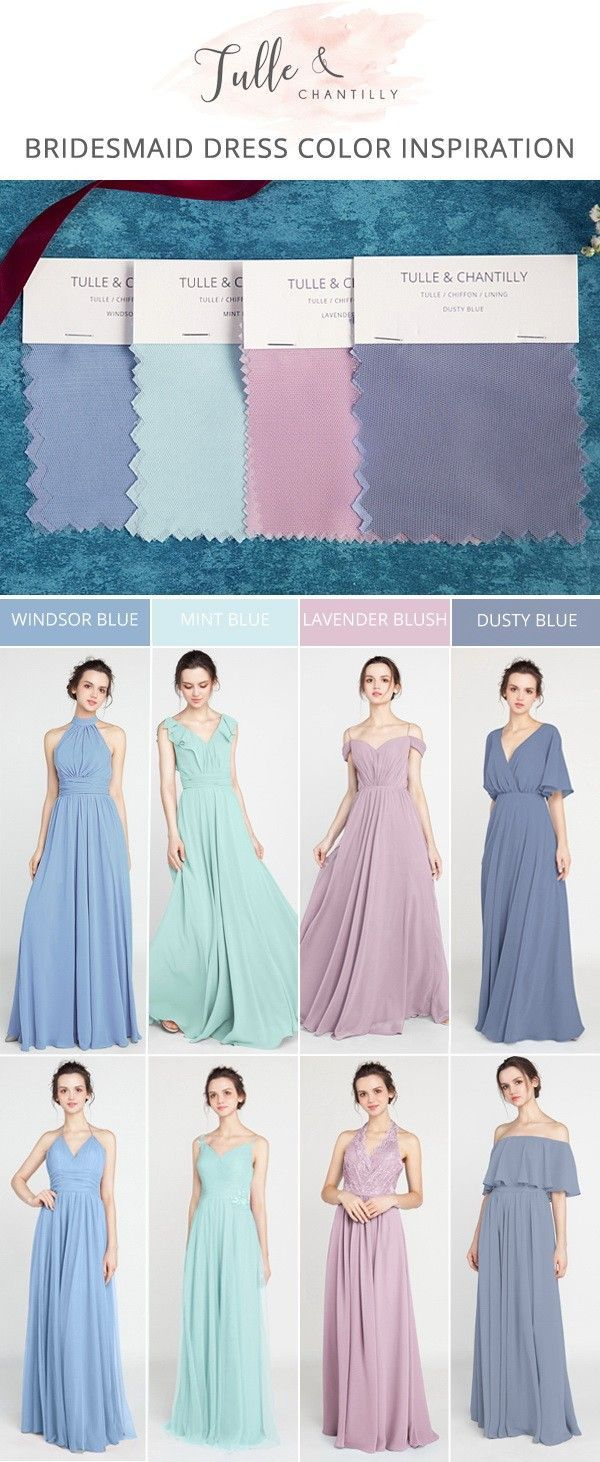 Purple and turquoise wedding dresses  spring summer wedding color inspiration with bridesmaid dresses