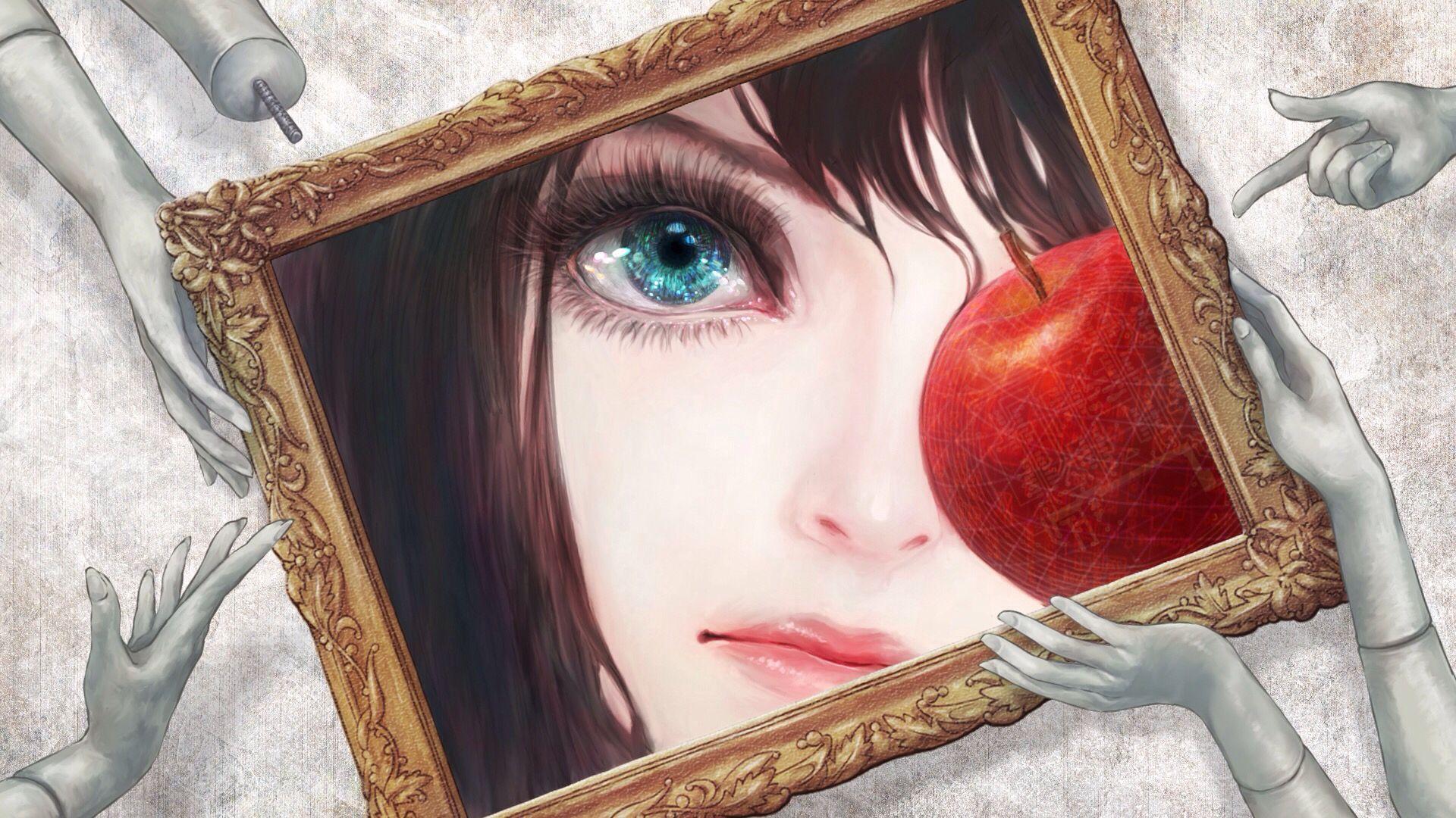 Anime manga art apple frame blue eyes art canvas wall