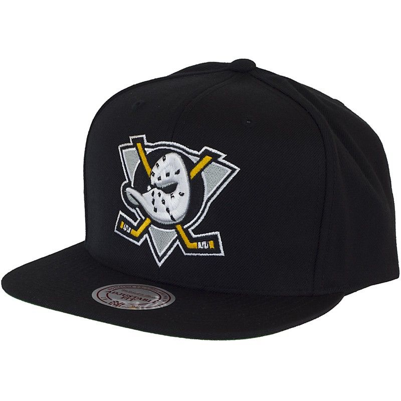 b7c6d3a80b0b0 Mitchell   Ness Mighty Ducks Of Anaheim Wool Solid Black Snapback ...
