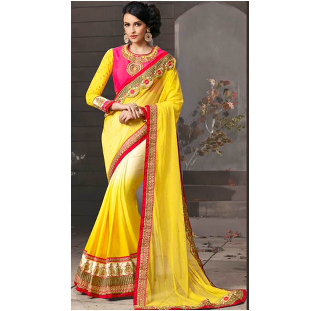 30a6b2b4e23950 Buy #Yellow Saree/Sari Starts At Rs 399 Lowest Price Online India From  #Amazon #Flipkart. Get Upto 72% Discount On These Sarees.