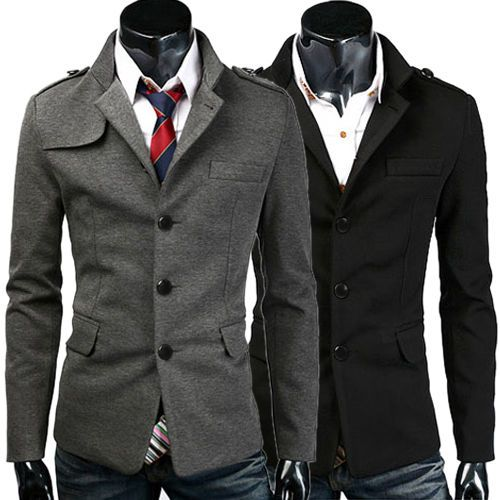 Fashion Mens Casual Slim Trench Coat Peacoat Winter Jacket Outerwear